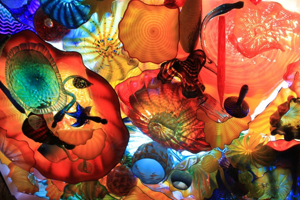 Chihuly Garden and Glass Exhibit sculptures on display